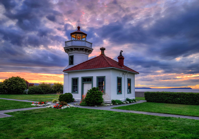Mukilteo lighthouse at sunset